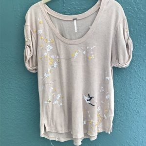 Free people anthropology embroidered T-shirt XS